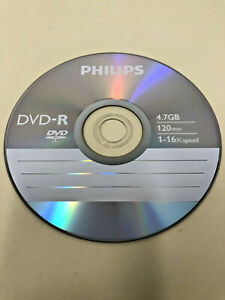 (1 Disc) Philips Blank DVD-R recordable Disc 4.7 GB 120 Min 1-16x Silver