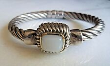 Flli Menegatti 18k Gold Accent Moonstone Sterling 925 Heavy Cable Bracelet Italy
