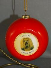 Lhasa Apso Ornament I Love My Lhasa Apso Dog Pet Red Ball Christmas Ornament