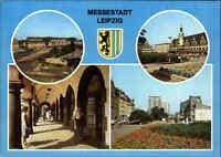 LEIPZIG Sachsen DDR Postkarte Messestadt, Sachsenplatz, Blick Hauptbahnhof uvm.