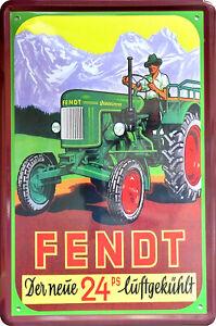 Blechschild 20x30 FENDT 24PS Traktor Schlepper Werkstatt Deko Sammler Geschenk