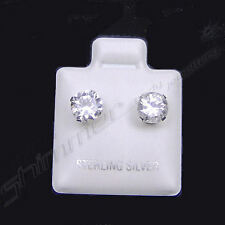 STERLING SILVER CZ STUD EARRINGS PAIR BUTTERFLY BACKS SELECT SIZE CUBIC ZIRCONIA
