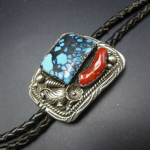 Vintage NAVAJO Sterling Silver EGYPTIAN TURQUOISE and RED BRANCH CORAL BOLO Tie