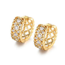 Vintage Retro Yellow Gold Filled Hollow Huggies Diamond Ring Hoop Women Earrings