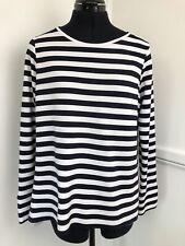 M&S Autograph Breton  Top Navy & White Striped T-Shirt Long Sleeve Size 14