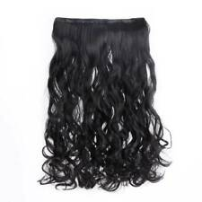 "24"" One Piece Clip In Hair Extensions Synthetic Full Head Thick Wavy Curly Hair"