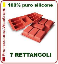 STAMPO SILICONE FORME STAMPI 7 RETTANGOLI FORMINE CM 8,7 X 4,8 rettangolari