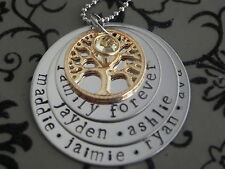 Personalised Hand Stamped Circle Of Life Family names Names 3 Tier GP&SSteel