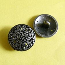 10 Desiger Brass Metal Plate Shirt Pant Sew On Buttons Deep Pewter 16.5mm G235