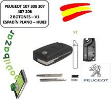 LLAVE CARCASA PEUGEOT 107 308 307 407 206 207 V1 HU83 - 2 BOTONES ESPADIN RANURA