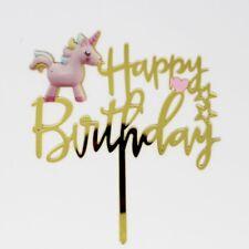 Acrylic Happy Birthday Cake Topper Party Cupcake Fondant Unicorn Gold Golden