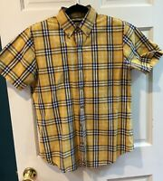 Relwen Yellow and Blue Plaid Short Sleeve Casual Men's Shirt - Size M