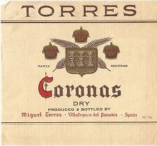 Label-TORRES Coronas,dry wine,Villafranco del Panades,Spain.Original= melaneybuy