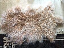 Genuine Mongolian Tibetan  sheepskin Fur wool pelt Rug Beige with snow top