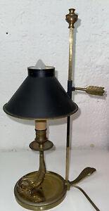 Lampe Bronze  Dauphin Bouillotte Empire De Très Belle Qualité