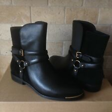 UGG KELBY BLACK LEATHER HARNESS ANKLE BUCKLE BOOTS BOOTIES US SIZE 10 WOMENS