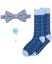 $195 BAR III Men BOW TIE Blue Floral FLOWER LAPEL PIN CREW DRESS SOCKS GIFT SET