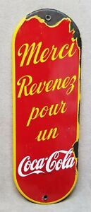 Vintage 1940s Porcelain Coca-Cola French Canadian Palm Press Sign.