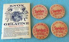 SAMBO WOODEN COINS AND KNOX GELATIN EMPTY PACKET...BLACK AMERICANA