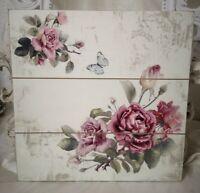 Wandbild Deko Bild Schild Roses 30x30cm SHABBY  Vintage