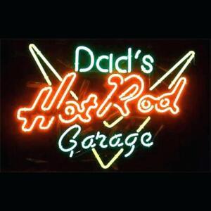 "New Dad's Hot Rod Garage Beer Bar Pub Light Lamp Neon Sign 20""x16"""
