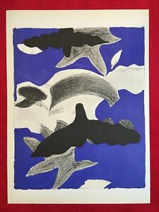 George Braque, Birds In The Sky, Original Mourlot Lithograph 1955,Vintage, Rare