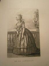 Gravure 19°  Portrait  personnage révolution : Madame de Lamballe