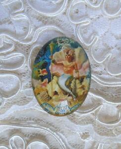 King Neptune 30X40mm Glitter Unset Handmade Glass Art Bubble Cameo Cabochon