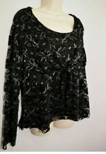 Gorgeous Party Evening Top Black Silver Size UK 18