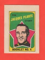 1971-72 O-Pee-Chee OPC  # 4 Jacque Plante Booklet  Exmt-nrmnt+