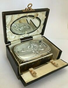 Cased George V Sterling Silver Travelling Brush Set 1927