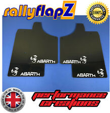 rallyflapZ FIAT 500 ABARTH Mudflaps & Fixings Kit Black (White Logo) 4mm PVC