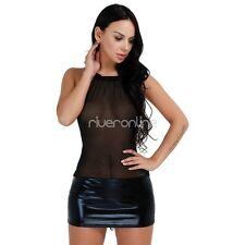 Sexy Womens Shiny Wetlook Leather Bodycon Party Dress Mini Dress Clubwear Black