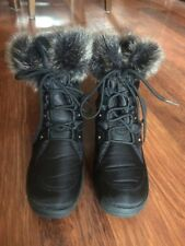 Ladies Black Boots Size 3 In Fabric With Faux Fur To Ankle