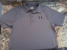 Under Armour Coldblack Men's Lg Heat Gear Loose Fit Polo Golf Shirt Gray Silver