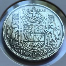 1940 Canadian 50 Cent Coin 80% Silver 11.66g Fine (AA114) Canada Currency