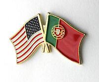PORTUGAL PORTUGUESE USA COMBO FLAG LAPEL PIN BADGE 1 INCH