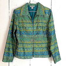 Womens Jacket sz L Analogy Blazer Peacock Eyelet Embroidered Green Blue Teal