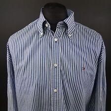 Tommy Hilfiger Mens Shirt XL Long Sleeve Blue Regular Fit Striped Cotton