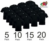 1 5 10 20 PACK FRUIT OF THE LOOM BLACK MENS COTTON T-SHIRTS WHOLESALE S-5XL BULK