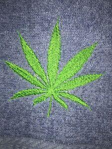 Embroidered Gray Bathroom Hand Towel & Wash Cloth Set   Marijuana Leaf #3