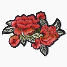 2pcs Red Rose Flower Patch Embroidered Iron on Applique DIY Clothes Patches #503