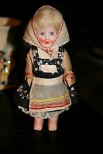 Early Plastic Googly Eyes Lady Doll orig Ethnic Costume+  Mohair wig Super Cute!