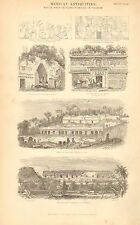 1874 PRINT ~ MEXICAN ANTIQUITIES ~ NATIVE ARCHITECTURAL REAMIN YUCATAN