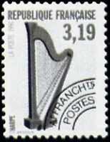 "FRANCE PREOBLITERE TIMBRE STAMP N°220 ""INSTRUMENTS DE MUSIQUE HARPE"" NEUF xx TTB"