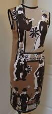 Vintage 1960s CASSANDRA Charlie Chaplin Sleeveless Mod Print Sheath Dress Size 6
