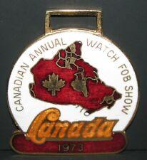 1973 Canadian Annual Watch Fob Show Canada Enamel & Metal Pocket Maple Leaf