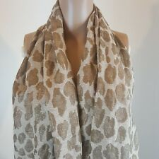 Atmosphere Scarf Tan Ivory Gold Fringe 69 in Long 22 in Wide