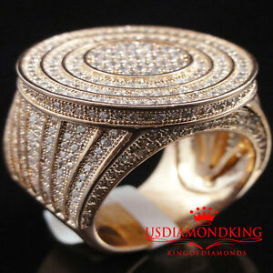 MEN NEW 14K ROSE GOLD FINISH LAB DIAMOND BIG BOLD PINKY RING BAND PAVE SZ 6-11