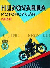 1932 Husqvarna Motorcycle Vintage ca 8 x 10 print prent poster